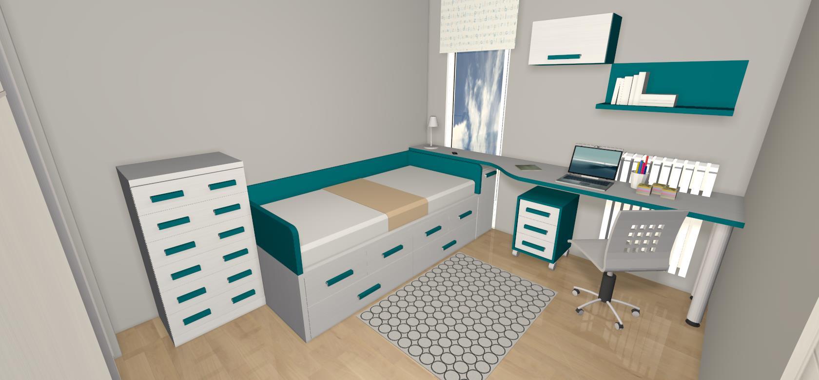 Habitaci n juvenil blanca y verde agua de muebles gascon - Disenar muebles a medida ...