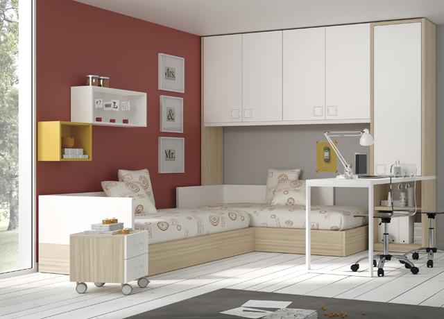10 propuestas de habitaci n juvenil muebles ros muebles for Cama puente con escritorio
