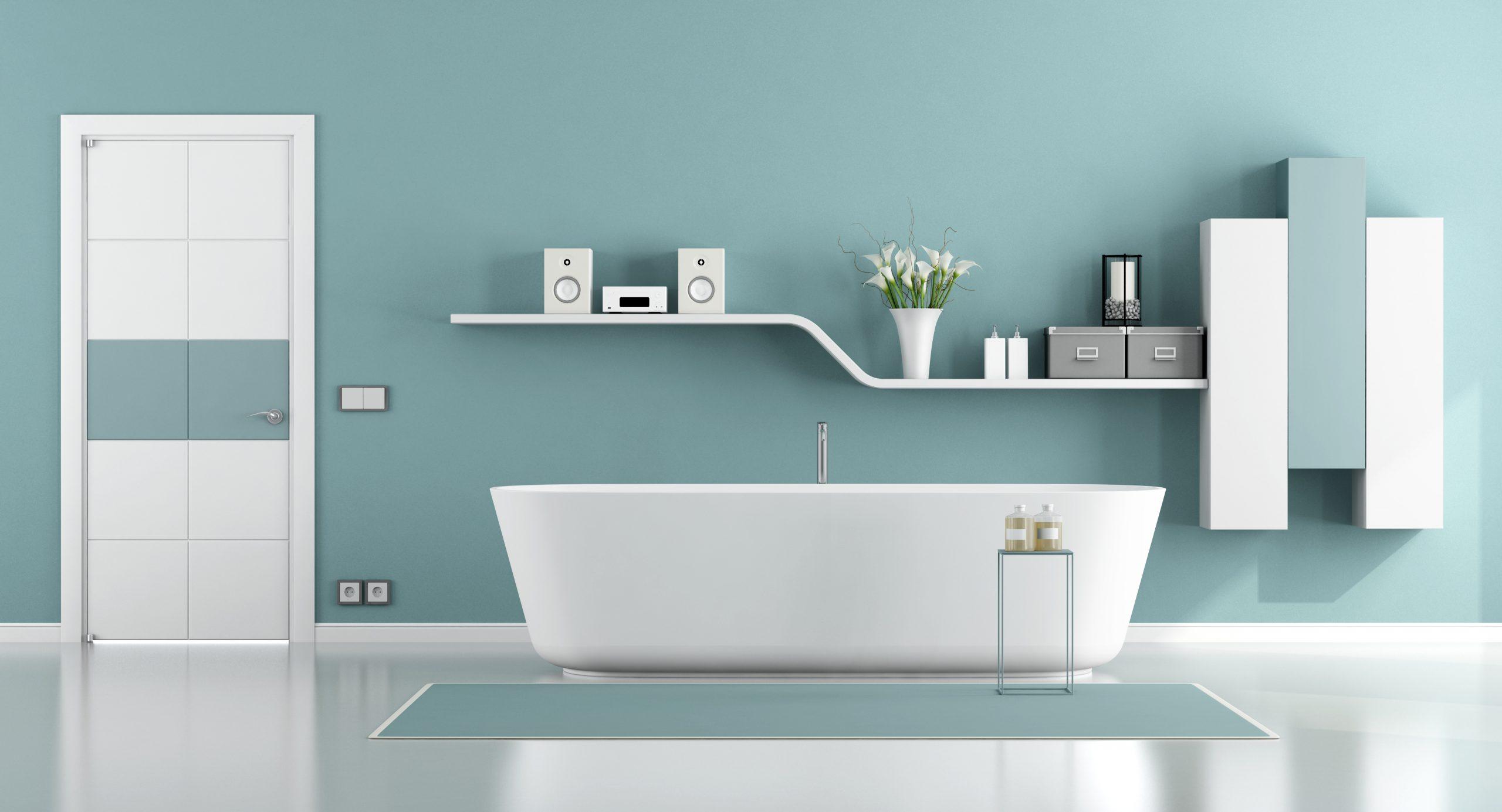 Baño con toques azules