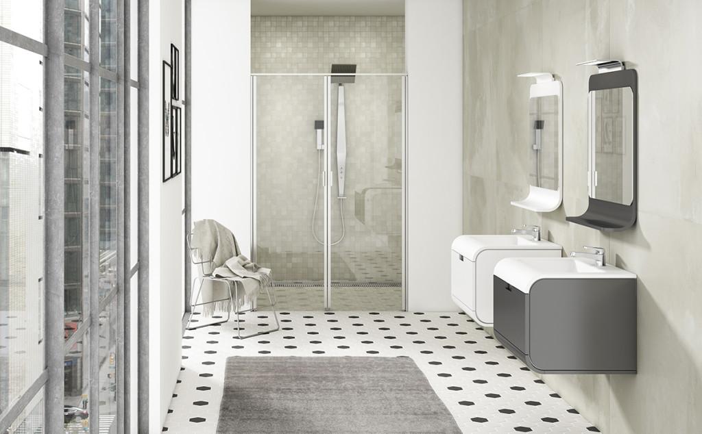 Baño con decoración en tonos grises